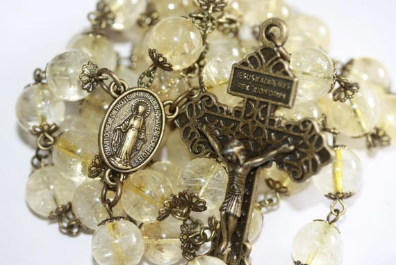 Huge 10mm Citrine and Bronze Handmade Rosary Handmade in  Oklahoma 5 decade Pardon Crucifix