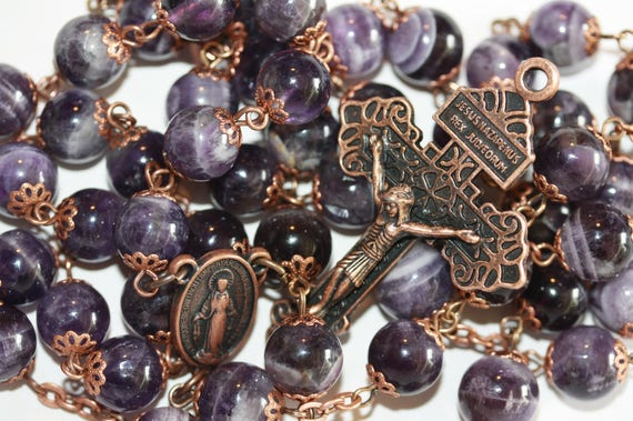 10mm Non-Faceted Amethyst Rosary in Copper with Pardon Crucifix Handmade in Oklahoma