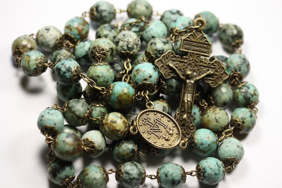 Coffee Table Rosary - Large 12mm African Turquoise and Bronze Handmade Rosary Handmade in  Oklahoma 5 decade Pardon Crucifix