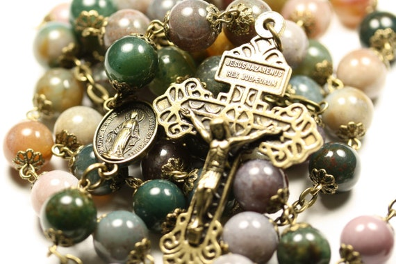 Large 10mm Fancy Agate in Bronze Made Oklahoma 5 Decade Catholic Rosary with Pardon Crucifix