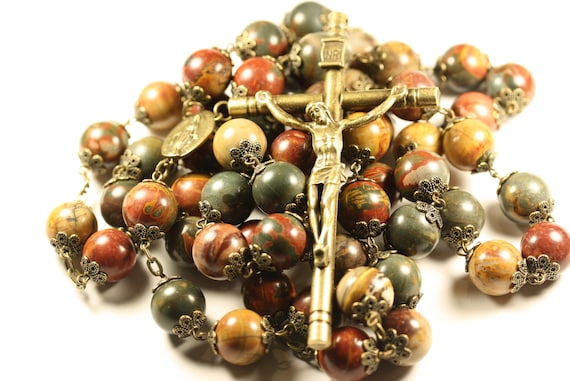 14mm Picasso Jasper  Wall Rosary in Bronze made in Oklahoma