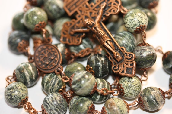 Large 10mm Green Zebra Jasper Rosary in Copper Made in Oklahoma with Pardon Crucifix