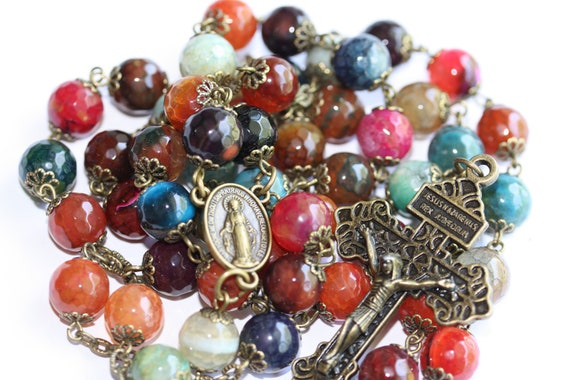 Colorful Agate in Bronze oversized 10mm rosary with Pardon Crucifix handmade in Oklahoma