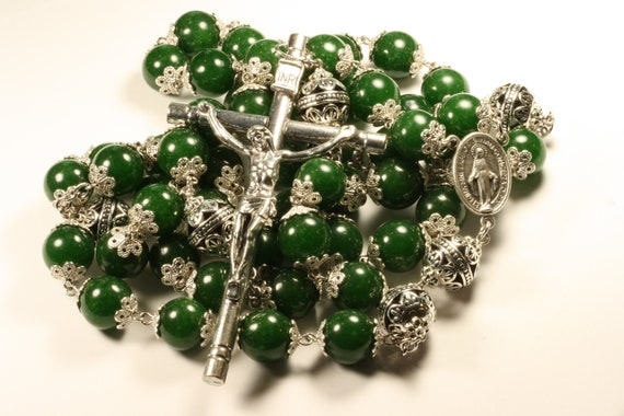 14mm Green Jade Stone Bead Wall Rosary in Silver made in Oklahoma