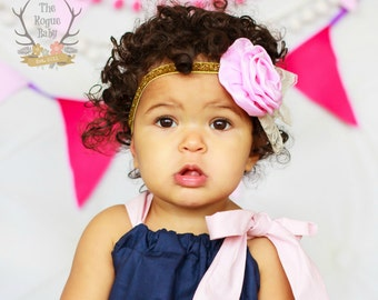 Pink Satin Flower & Gold Glitter Headband Lace Accent -  Newborn Infant Baby Toddler Girls Adult Wedding Flower Girl Cake Smash