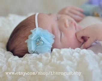 Newborn Baby Petite Headband. Photo Prop Ice Light Blue with White Rhinestones & Pearls Preemie Baptism Wedding