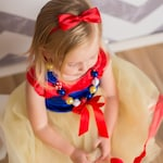 Princess Inspired - Red Satin Bow Headband - Newborn Infant Baby Toddler Girls Adult