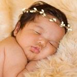 Halo Headband - Crown - Cream Off White - Baby Headband - Rustic Chic - Newborn Headband - Woodland Prop - Head Wreath