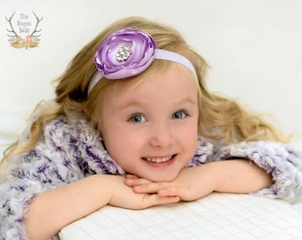 Petite Flower Feather and Pearl Accent Headband Preemie Infany Toddler Taupe Blue Yellow Orange Lavender Headband