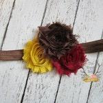 Brown Mustard Yellow Burgundy Fall Headband -  Baby Newborn Infant Photo Prop Toddlers Girls Women Maroon Leaves Autumn