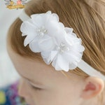 White Rhinestone Soft Chiffon Headband. Pearl Preemie Wedding Flower Solid White Headband for Baby