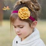 Burgandy & Yellow / Gold Headband - Satin Rosette Flower  -  Baby Infant Toddlers Girls Women Maroon