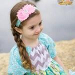 Candy Pink & Aqua Lace Headband -  Baby - Newborn Infant Toddler Girls Adult Wedding Baby Headband