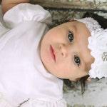 White Lace Headband Diamond Rhinestone -  Flower Girl - Newborn Infant Baby Toddler Girls Adult Wedding