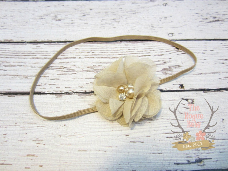 Newborn Baby Petite Headband. Photo Prop tan nude with image 0