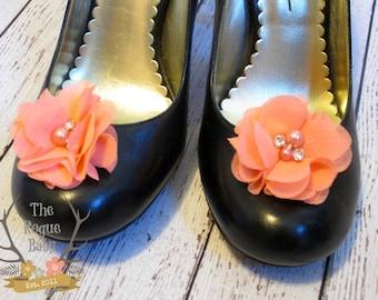 Coral Chiffon Flower Shoe Clips. Wedding Bride Bridesmaid Flower Girl Pearl Rhinestone Bridal Grey Silver