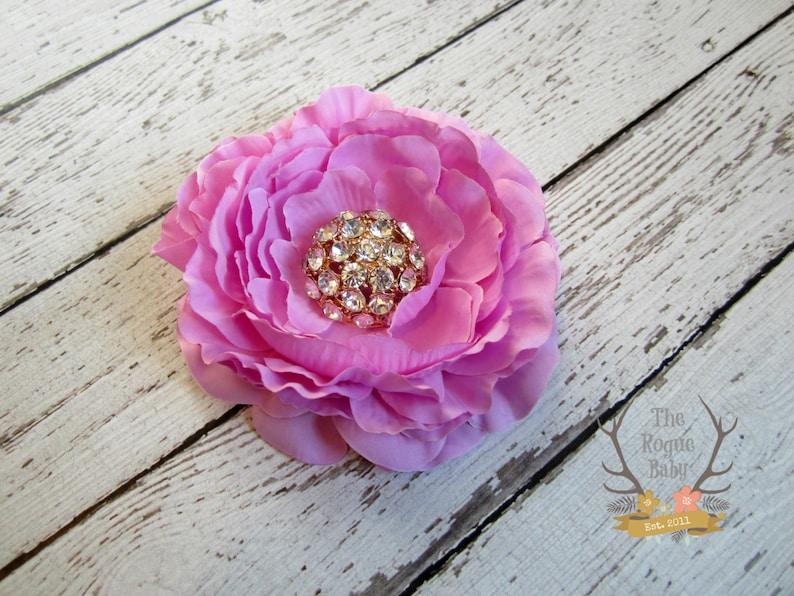 Light Purple Ranunculus Flower Hair Clip  Crystal Diamond image 0
