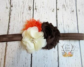 Brown Orange Cream Fall Headband - Baby Headband -  Newborn Photo Prop Toddlers Girls Women - Fall Wedding - Harvest