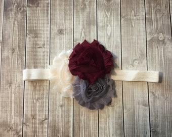 Cream Gray Burgundy Fall Headband -  Baby Newborn Infant Photo  Prop Toddlers Girls Women  Maroon  Leaves Autumn Ivory