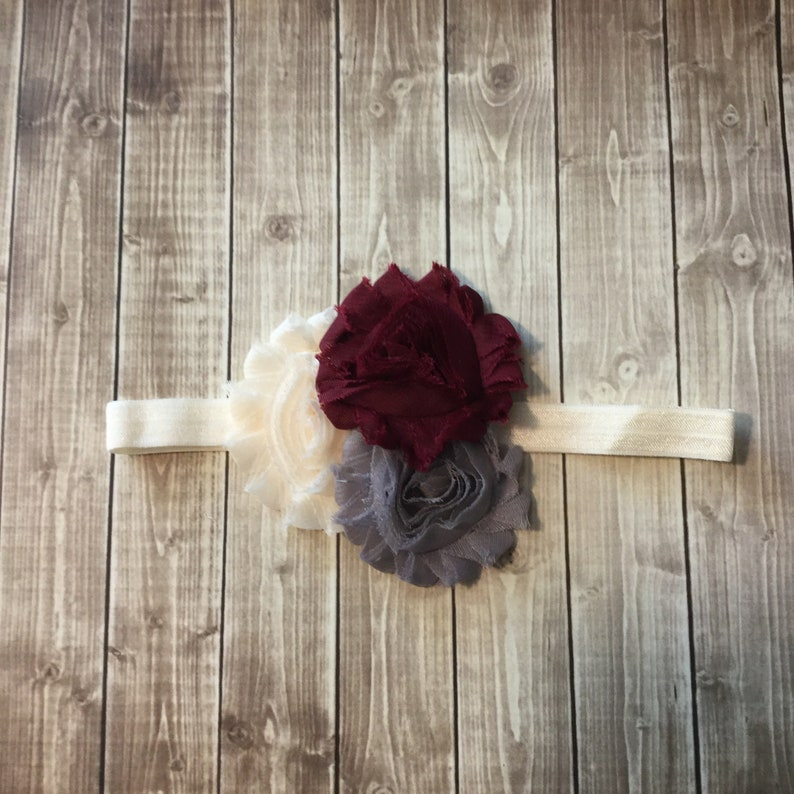 Cream Gray Burgundy Fall Headband   Baby Newborn Infant Photo image 0