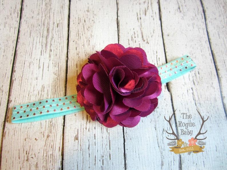 Aqua Pink Purple Headband with Satin & Tulle   Metallic Polka image 0