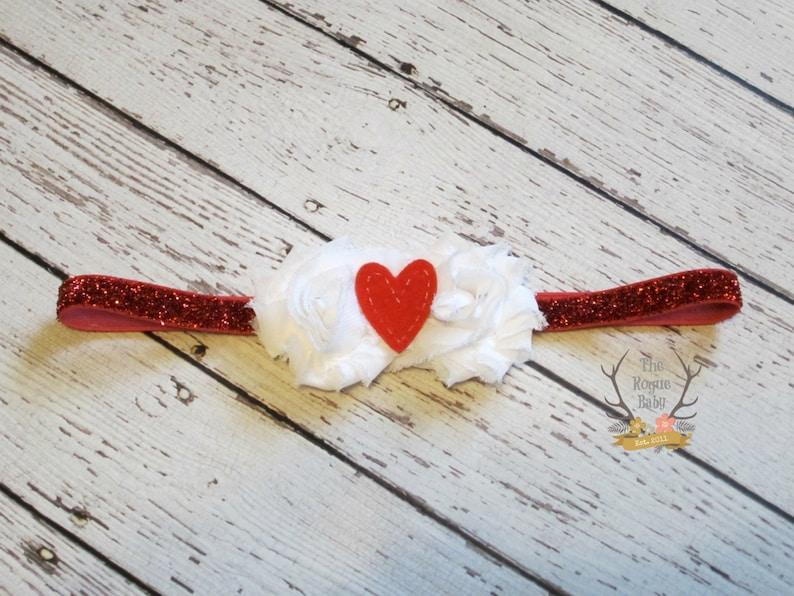 Red & White Sweetheart Petite Headband   Glitter Heart Felt  image 0