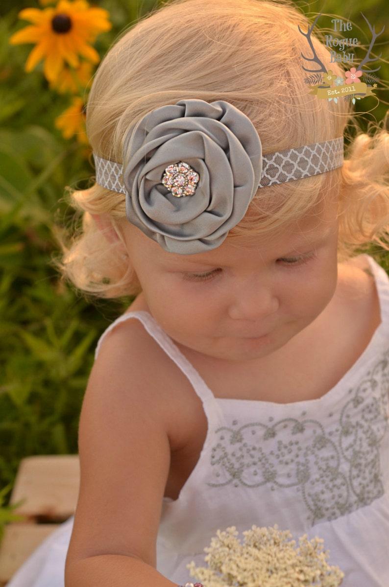 Gray Baby Headband  Quatrefoil  Rhinestone Bling  Grey White image 0