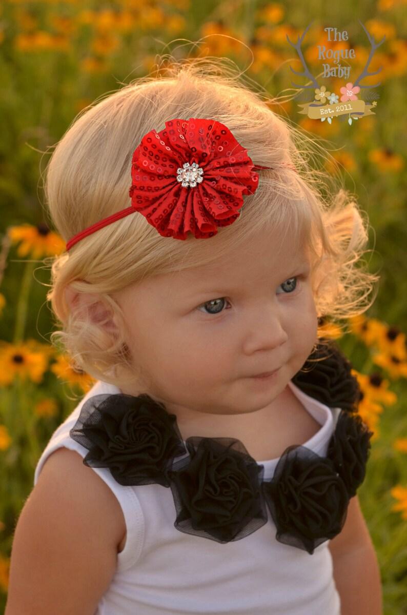 Red Sequin & Petite Rhinestone Headband  Newborn Infant Baby image 0