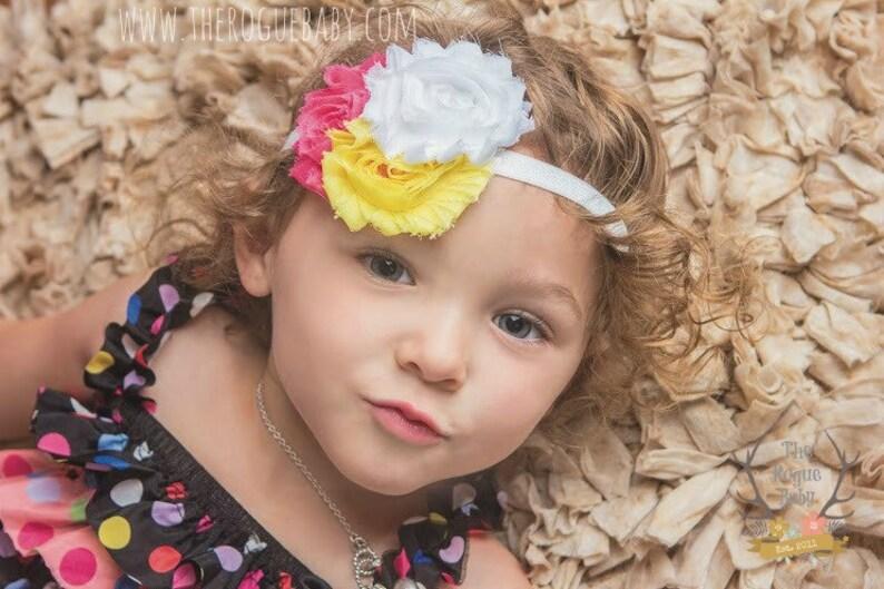 Hot Pink Yellow White Baby Headband  Pink Lemonade  Newborn image 0
