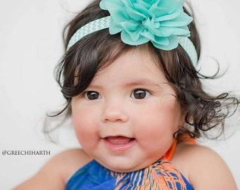 Aqua White Chevron Elastic Flower Headband -  Photo Prop - Newborn Infant Baby Toddler Girls Adult