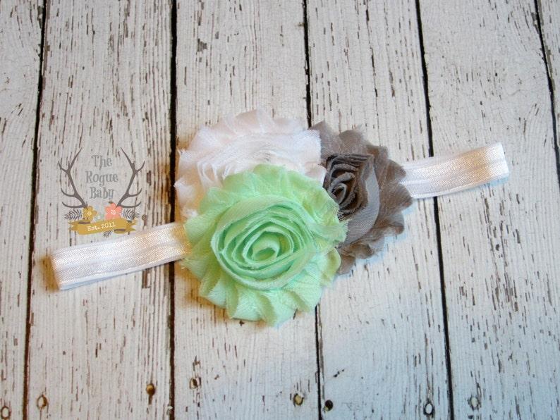 Mint Green White & Gray Headband  Newborn Infant Baby Toddler image 0