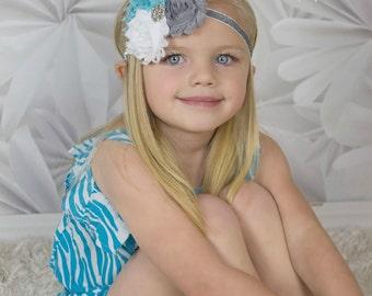 Winter Inspired Headband -  Silver Glitter Ice White Aqua Blue - Newborn Infant Baby Toddler Girls Adult