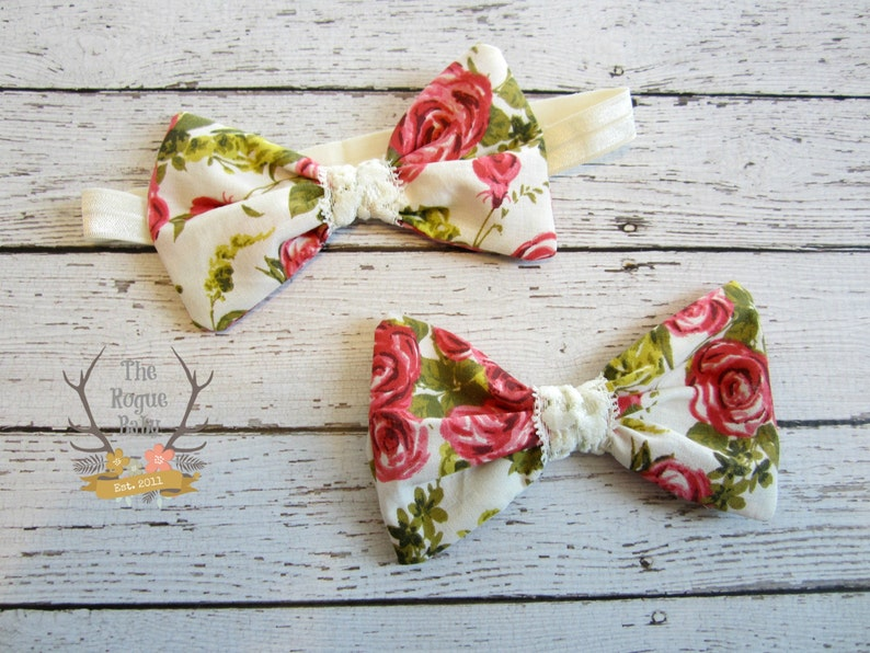 Floral Roses Fabric BowHeadband or Clip  Newborn Infant Baby image 0