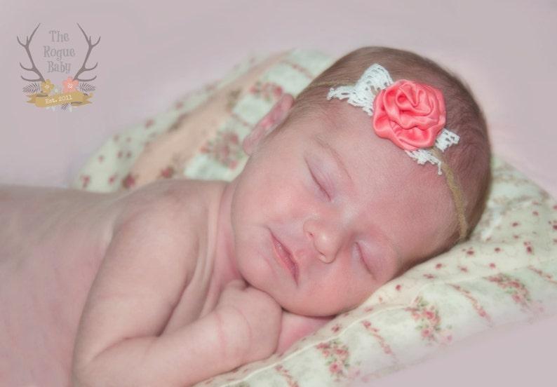 Photo Prop  Rustic Newborn Baby Tie Back Headband   Twine image 0