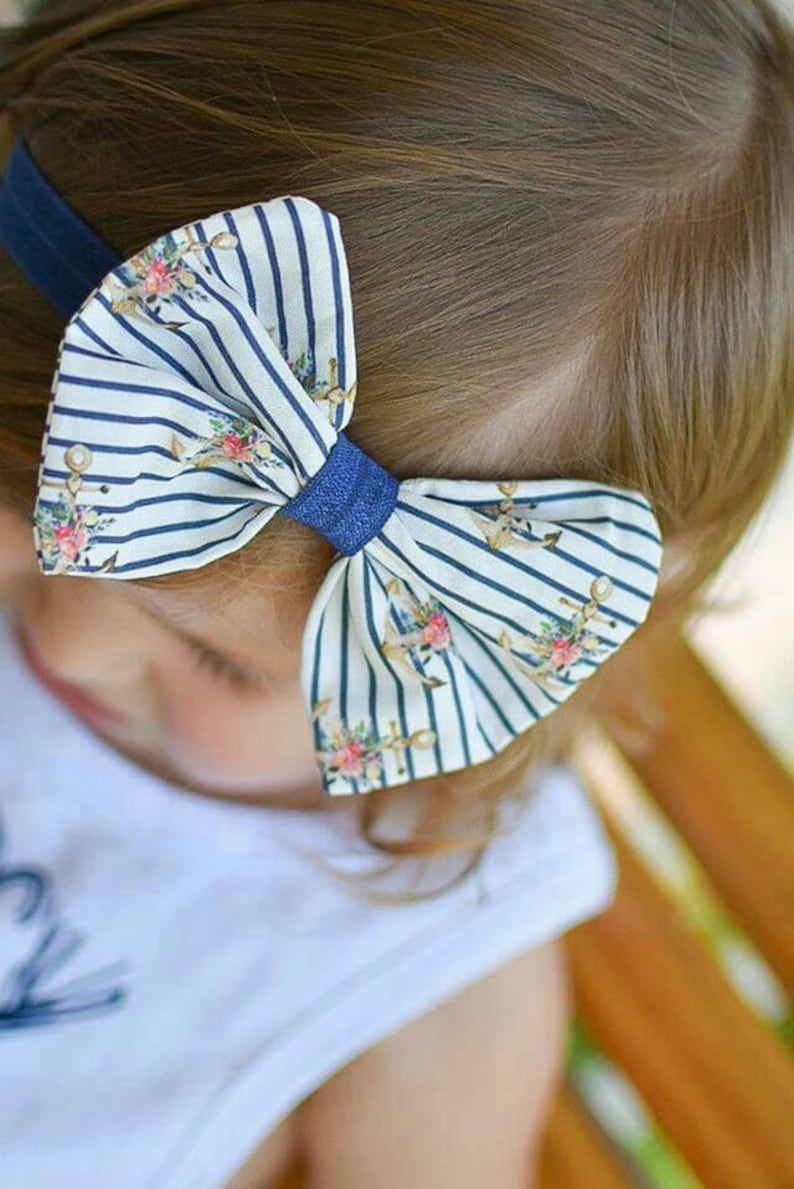 Navy White Stripe Anchor Floral Fabric Hair Bow Clip  image 0
