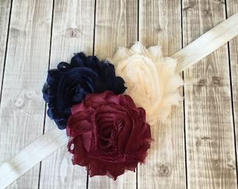 Cream Navy Blue Burgundy Fall Headband -  Baby Newborn Infant Photo Prop Toddlers Girls Women Maroon Leaves Autumn Ivory