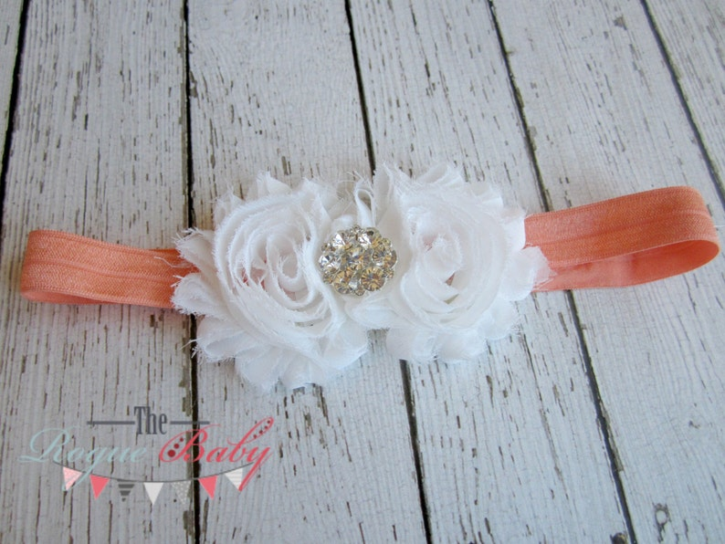 Coral & White Headband with Diamond Rhinestone   Vintage image 0
