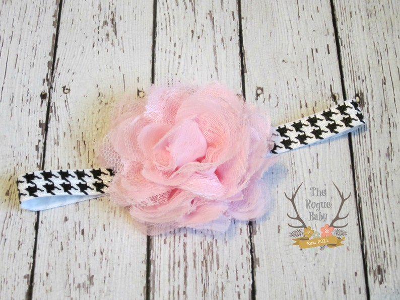 Baby Headband  Black White Houndstooth with Pink Lace & image 0