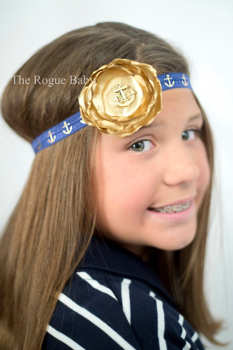 Nautical Anchor Headband   Gold & Navy Blue  Newborn Infant image 0