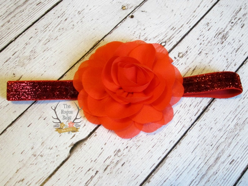 Red Glitter Headband with Chiffon Rose Flower   Baby Infant image 0