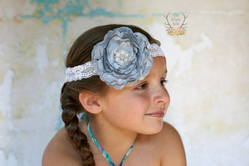 Gray Ranunculus Flower with Lace Headband  Pearl & Rhinestone image 0