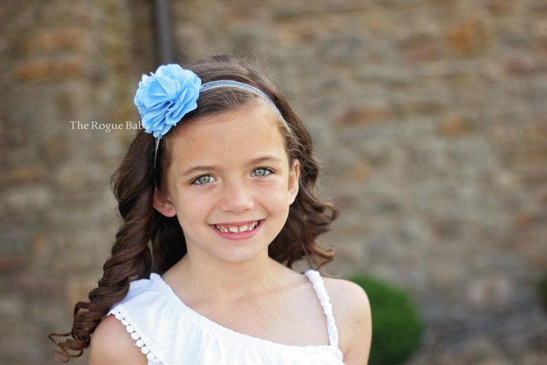 Cinderella Blue with Silver Glitter Headband with Satin & image 0