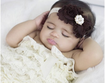 Rose Gold Accented Cream Lace Headband with Brown Flowers Pearl rhinestone-  Baby Newborn Infant Photo Prop Toddlers Girls Women Fall Autumn