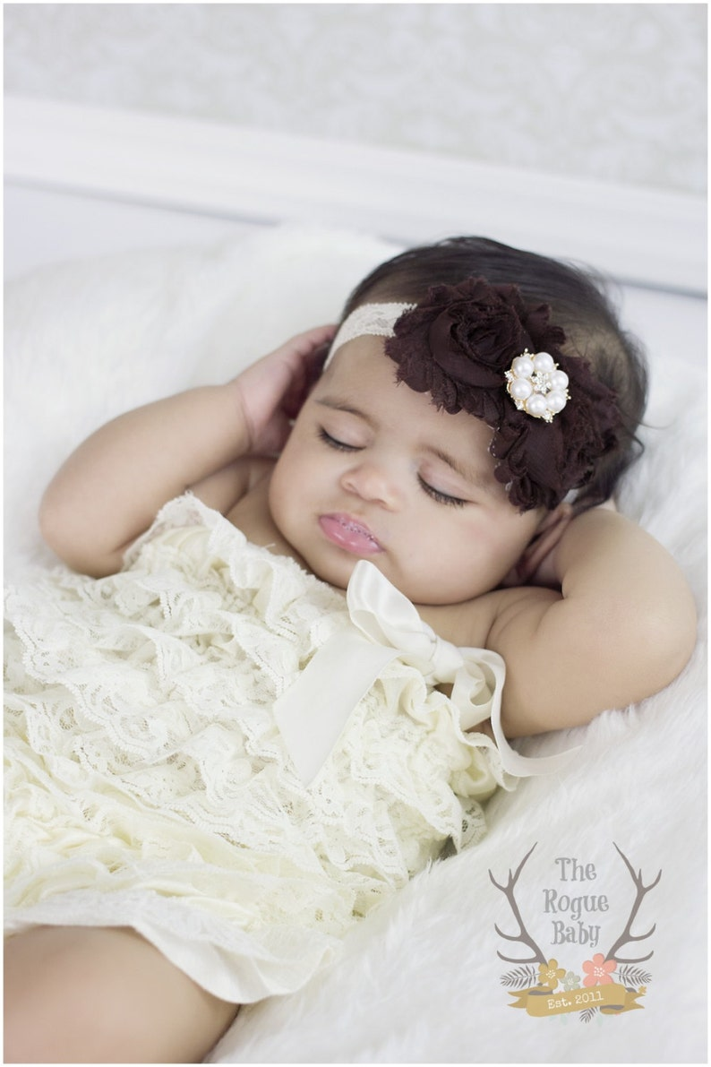 Rose Gold Accented Cream Lace Headband with Brown Flowers image 0