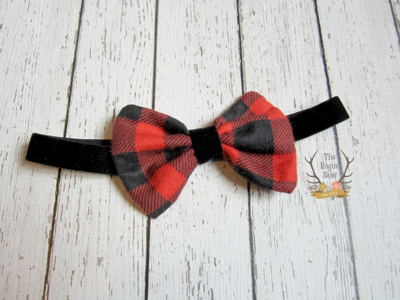 Buffalo Plaid Headband with Black Velvet Elastic  Red Black image 0