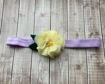 Yellow & Light Purple Headband - Newborn - Baby  - Photo Prop - Lilac -  Lavender - Pale Yellow  - Pearl Rhinestone - Flower Headband