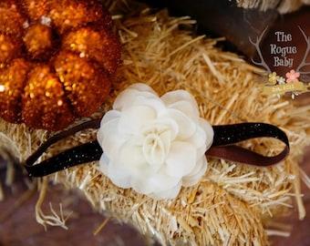 Ivory Cream Rose with Brown Glitter Headband - Chiffon Glitter Elastic Fall Autumn Back to School - Baby Newborn Flower Girl Fall Wedding