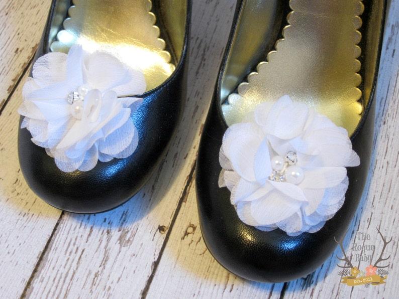 White Chiffon Flower Shoe Clips. Wedding Bride Bridesmaid image 0