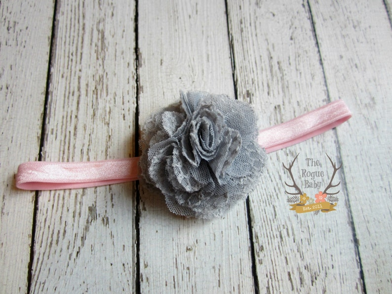 Gray & Pink Headband for Baby Girl  Lace Tulle Glitter image 0