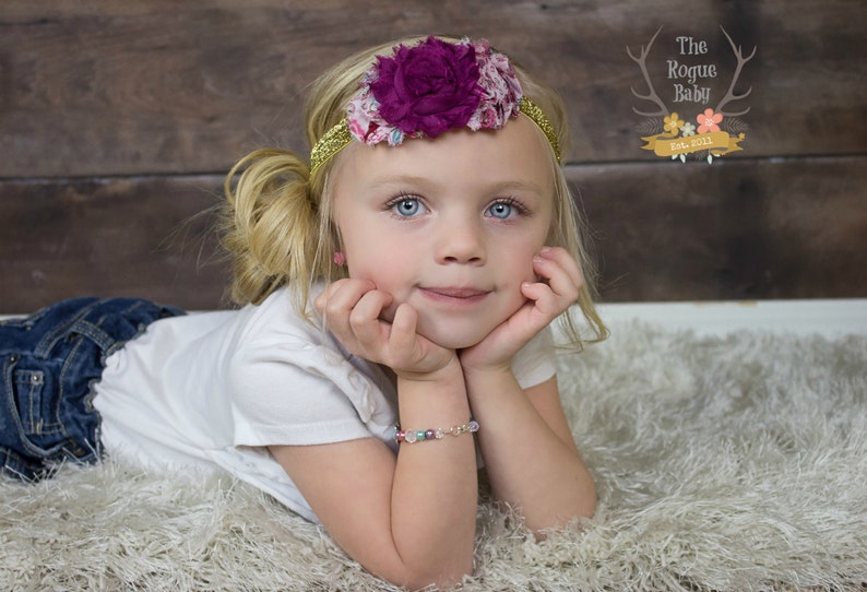 Gold Pink and Magenta Paisley Headband   Fit for Royalty  image 0